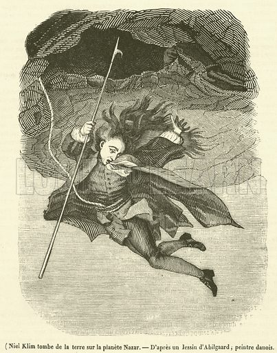 Niel Klim tombe de la terre sur la planete Nazar. Illustration for Le Magasin Pittoresque (1839).