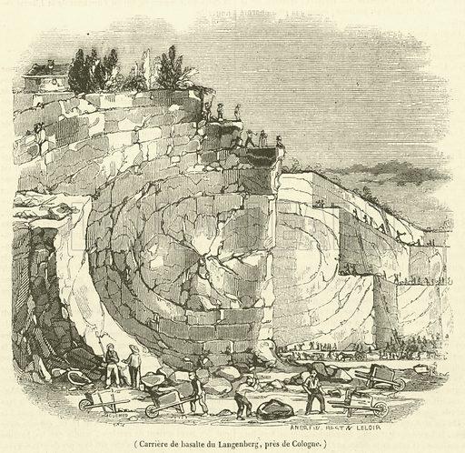Carriere de basalte du Langenberg, pres de Cologne. Illustration for Le Magasin Pittoresque (1839).
