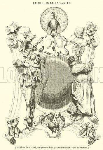 Le Miroir de la vanite, sculpture en bois. Illustration for Le Magasin Pittoresque (1839).