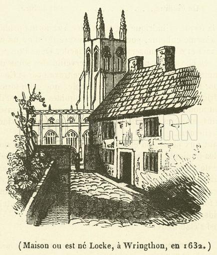 Maison ou est ne Locke, a Wringthon, en 1632. Illustration for Le Magasin Pittoresque (1839).