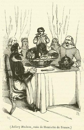 Jeffery Hudson, nain de Henriette de France. Illustration for Le Magasin Pittoresque (1839).