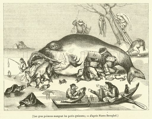 Les gros poissons mangent les petits poissons. Illustration for Le Magasin Pittoresque (1839).
