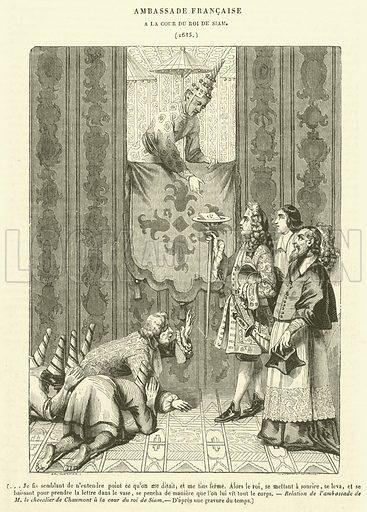 Ambassade Francaise, a la Cour du Roi de Siam. Illustration for Le Magasin Pittoresque (1840).