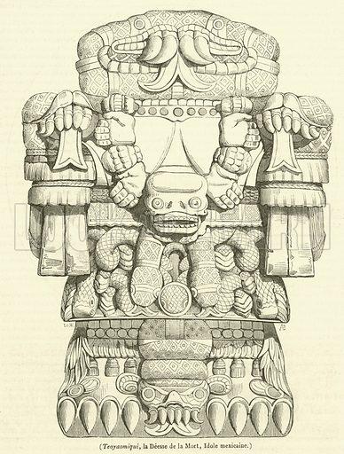Teoyaomiqui, la Deesse de la Mort, Idole mexicaine. Illustration for Le Magasin Pittoresque (1840).