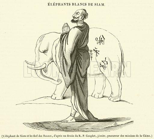 L'elephant de Siam et le chef des Bonzes. Illustration for Le Magasin Pittoresque (1840).