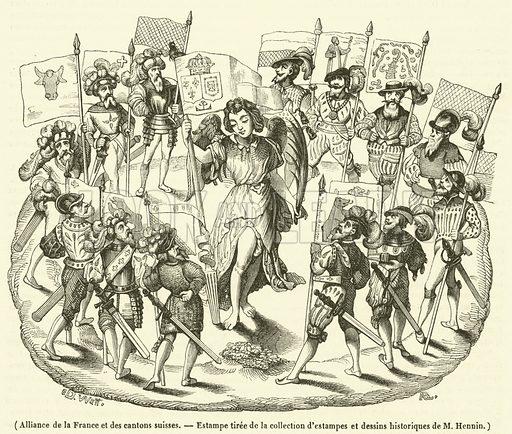 Alliance de la France et des cantons suisses. Illustration for Le Magasin Pittoresque (1840).