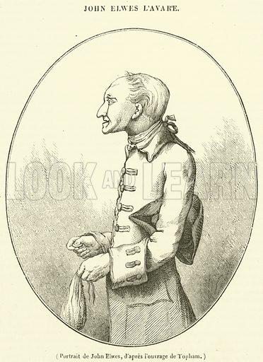 Portrait de John Elwes. Illustration for Le Magasin Pittoresque (1840).