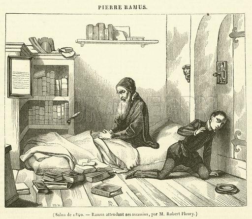 Salon de 1840, Ramus attendant ses assassins. Illustration for Le Magasin Pittoresque (1840).