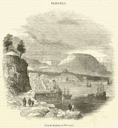 Vue de Berghen, en Norwege. Illustration for Le Magasin Pittoresque (1840).