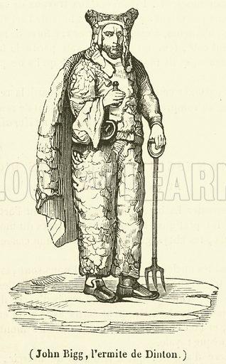 John Bigg, l'ermite de Dinton. Illustration for Le Magasin Pittoresque (1840).