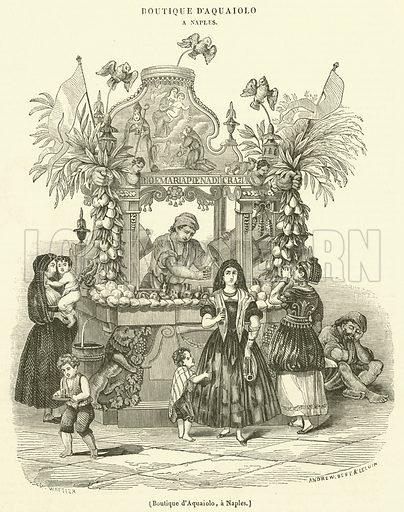 Boutique d'Aquaiolo, a Naples. Illustration for Le Magasin Pittoresque (1840).