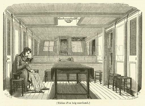 Cabine d'un brig marchand. Illustration for Le Magasin Pittoresque (1840).