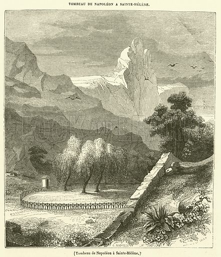 Tombeau de Napoleon a Sainte-Helene. Illustration for Le Magasin Pittoresque (1840).