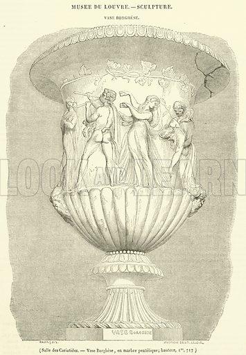 Salle des Cariatides, Vase Borghese, en marbre pentelique, hauteur, Im, 717. Illustration for Le Magasin Pittoresque (1840).