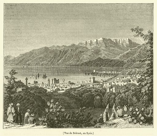Vue de Beirout, en Syrie. Illustration for Le Magasin Pittoresque (1840).
