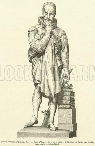 Statue en bronze d'Ambroise Pare. Illustration for Le Magasin Pittoresque (1841).