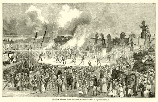 Derniere scene du drame de Rama, represente devant le raja de Benares. Illustration for Le Magasin Pittoresque (1841).