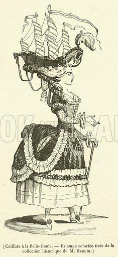 Coiffure a la Belle-Poule, Estampe colouriee tiree de la collection historique de M Hennin. Illustration for Le Magasin Pittoresque (1841).