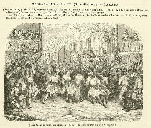 Une Scene de carnaval a Haiti en 1838. Illustration for Le Magasin Pittoresque (1841).