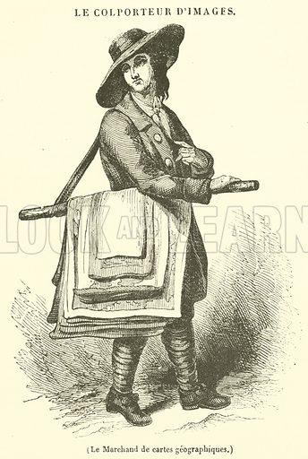 Le Marchand de cartes geographiques. Illustration for Le Magasin Pittoresque (1841).
