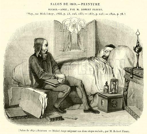 Salon de 1841, Peinture, Michel-Ange soignant son domestique malade. Illustration for Le Magasin Pittoresque (1841).