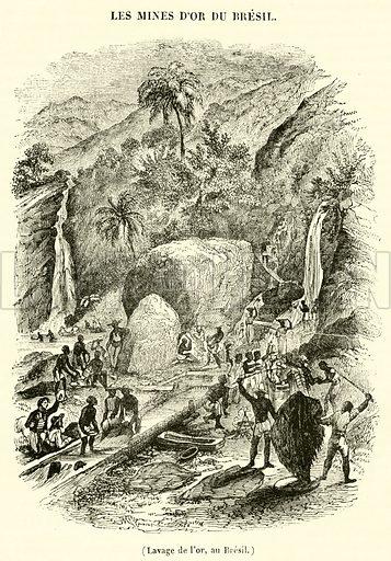 Lavage de l'or, au Bresil. Illustration for Le Magasin Pittoresque (1841).