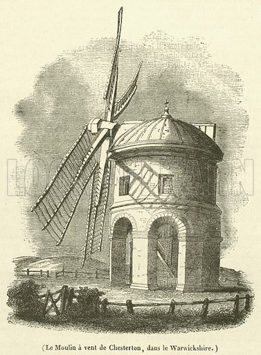 Le Moulin a vent de Chesterton, dans le Warwickshire. Illustration for Le Magasin Pittoresque (1841).