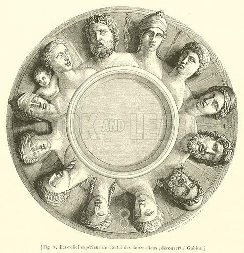 Bas-relief superieur de l'autel des douze dieux, decouvert a Gabies. Illustration for Le Magasin Pittoresque (1841).