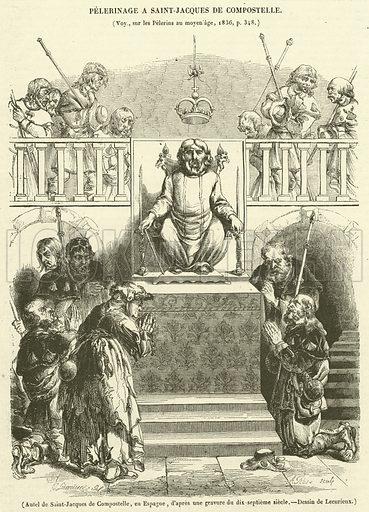 Autel de Saint-Jacques de Compostelle, en Espagne. Illustration for Le Magasin Pittoresque (1841).