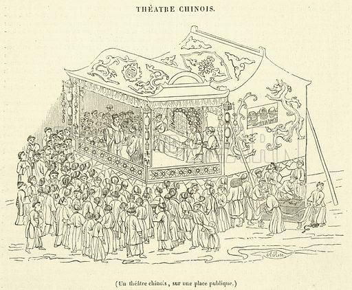 Un theatre chinois, sur une place publique. Illustration for Le Magasin Pittoresque (1841).