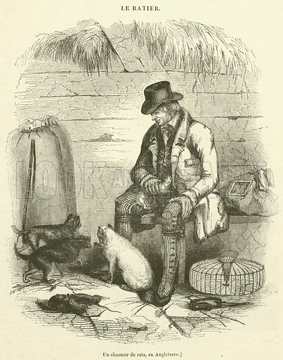 Un chasseur de rats, en Angleterre. Illustration for Le Magasin Pittoresque (1841).