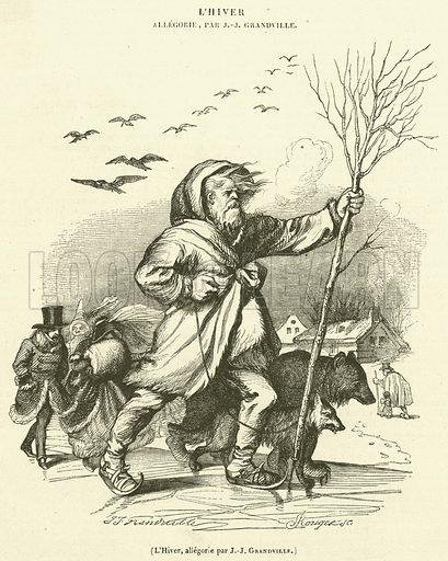 L'Hiver, allegorie. Illustration for Le Magasin Pittoresque (1842).