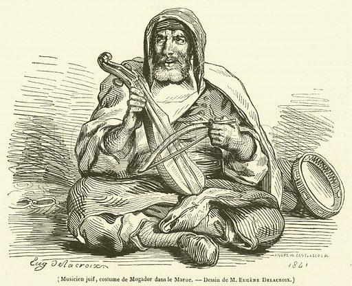 Musicien juif, costume de Mogador dans le Maroc. Illustration for Le Magasin Pittoresque (1842).