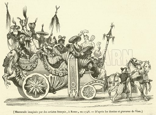 Mascarade imaginee par des artistes francais, a Rome, en 1748. Illustration for Le Magasin Pittoresque (1842).