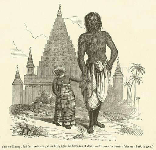 Shwe-Maong, age de trente ans, et sa fille, agee de deux ans et demi. Illustration for Le Magasin Pittoresque (1842).
