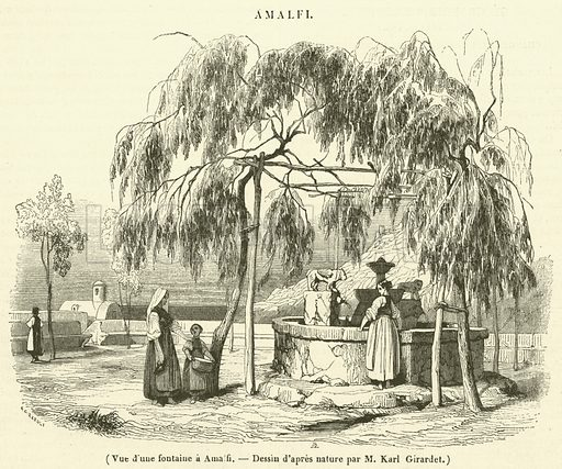 Vue d'une fontaine a Amalfi. Illustration for Le Magasin Pittoresque (1842).