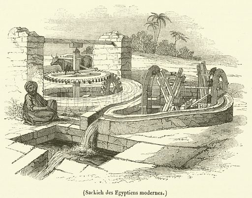 Sackieh des Egyptiens modernes. Illustration for Le Magasin Pittoresque (1842).