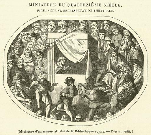Miniature d'un manuscrit latin de la Bibliotheque royale. Illustration for Le Magasin Pittoresque (1842).