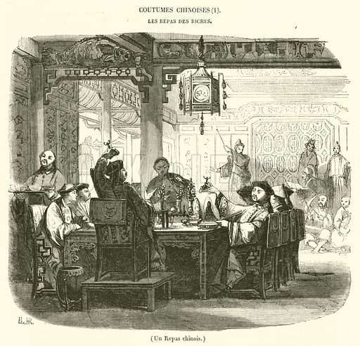 Un Repas chinois. Illustration for Le Magasin Pittoresque (1844).