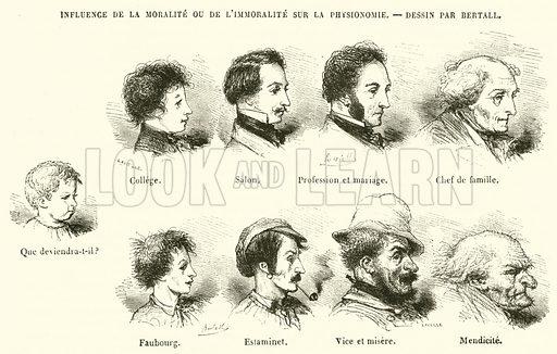 Influence de la Moralite ou de L'Immoralite sur la Physionomie. Illustration for Le Magasin Pittoresque (1847).