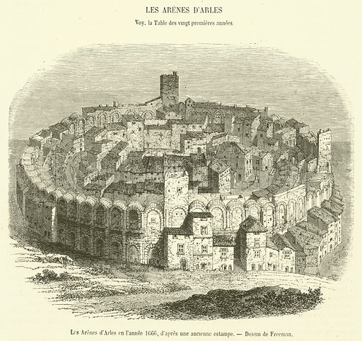 Les Arenes d'Arles en l'annee 1666. Illustration for Le Magasin Pittoresque (1855).
