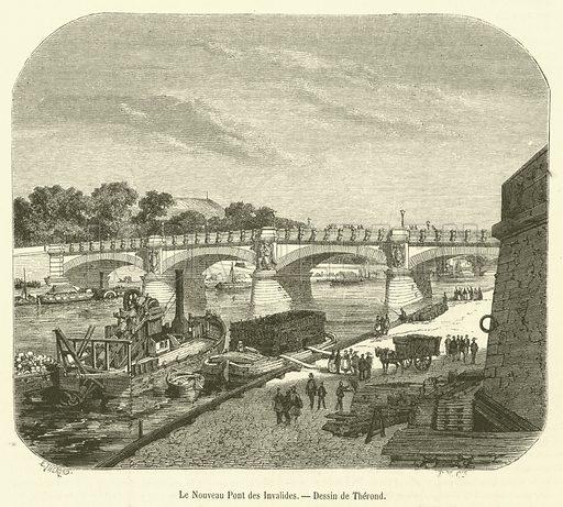 Le Nouveau Pont des Invalides. Illustration for Le Magasin Pittoresque (1856).