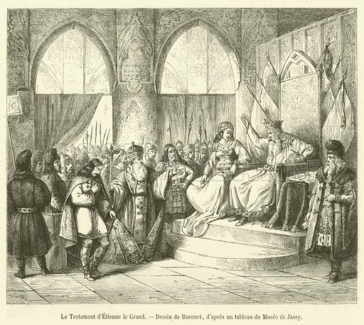 Le Testament d'Etienne le Grand. Illustration for Le Magasin Pittoresque (1863).