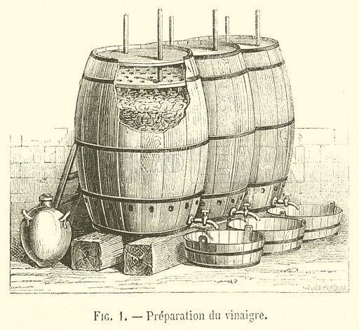 Preparation du vinaigre. Illustration for Le Magasin Pittoresque (1869).