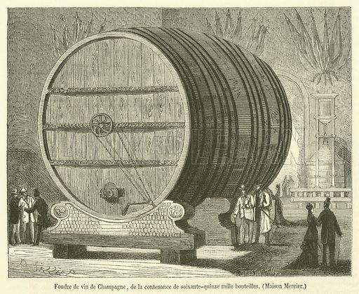 Foudre de vin de Champagne, de la contenance de soixante-quinze mille bouteilles, Maison Mercier. Illustration for Le Magasin Pittoresque (1878).