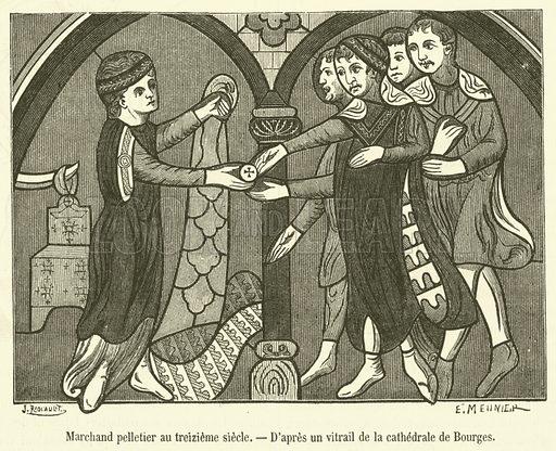 Marchand pelletier au treizieme siecle. Illustration for Le Magasin Pittoresque (1882).