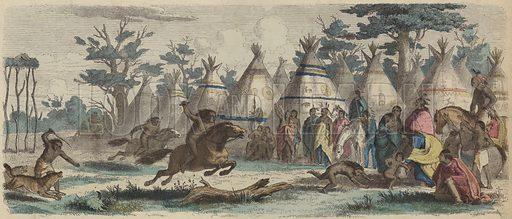 Native Americans racing. Illustration from Die Welt in Bildern (Braun & Schneider, Munich, 19th Century).