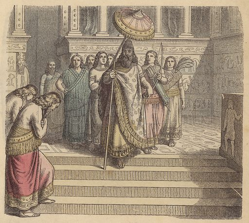 Assyrian king and his entourage. Illustration from Bilder aus dem Alterthume (Braun & Schneider, Munich, 19th Century).