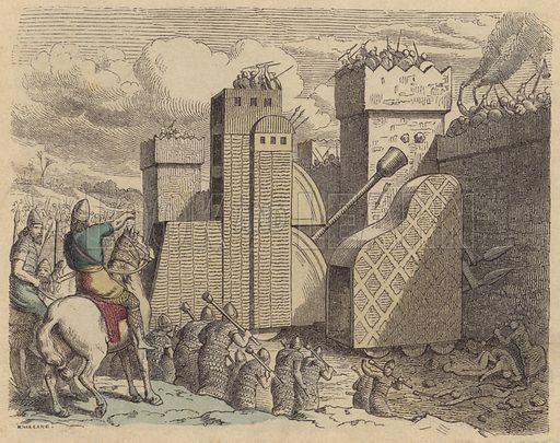 An Assyrian army besieging a city. Illustration from Bilder aus dem Alterthume (Braun & Schneider, Munich, 19th Century).