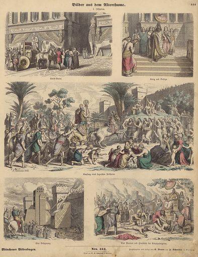 Ancient Assyria. Illustration from Bilder aus dem Alterthume (Braun & Schneider, Munich, 19th Century).